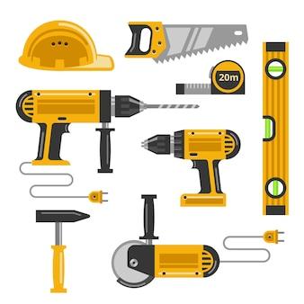 建設ツールフラットアイコンのセットです。のこぎり、ヘルメット、ドリル、スクリューガン、ハンマー、弓のこ。ベクトルイラスト
