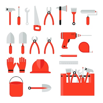Set of construction tools on a white background