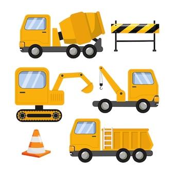 건설 차량 산업 노란색 트럭 평면 벡터 만화 디자인의 집합