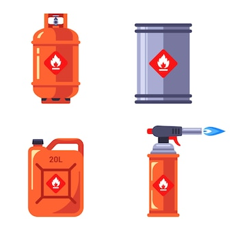 Набор контейнеров с легковоспламеняющимися веществами Premium векторы