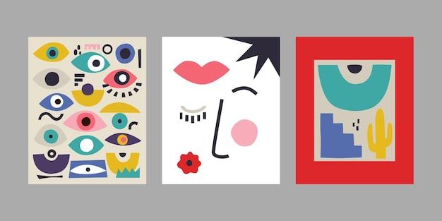 현대 미술 포스터 세트입니다. 추상적인 배경