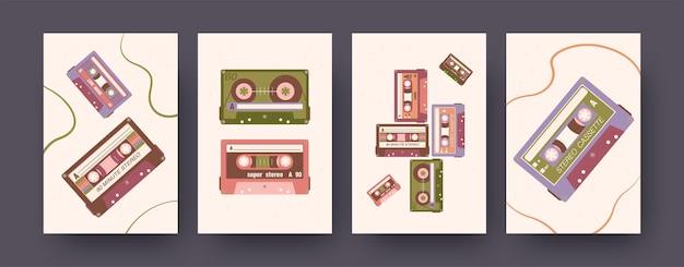 오디오 카세트가 있는 현대 미술 포스터 세트. 벡터 일러스트 레이 션. 다양한 구성의 스테레오 카세트 모음 프리미엄 벡터