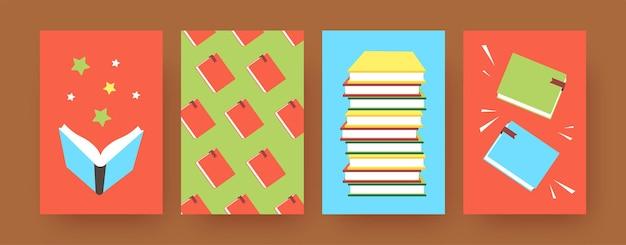 다채로운 표지에 책이 있는 현대 미술 포스터 세트