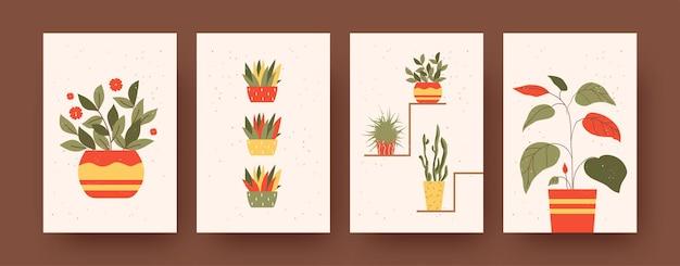 꽃과 정원을 주제로 한 현대 미술 포스터 세트. 벡터 일러스트 레이 션. 다채로운 화분에 식물의 컬렉션