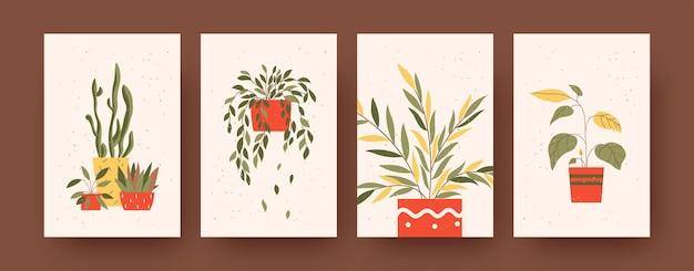 花と自然をテーマにした現代アートのポスターのセットです。ベクトルイラスト。鉢植えの植物のカラフルなコレクション