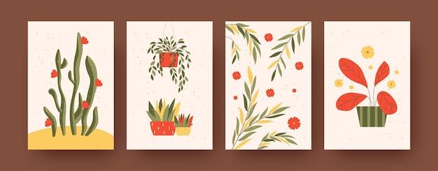 정원을 테마로 한 현대 미술 포스터 세트입니다. 벡터 일러스트 레이 션. 스탠드와 꽃 냄비에 식물 수집