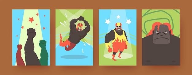 Набор плакатов современного искусства с мексиканскими бойцами. иллюстрация.