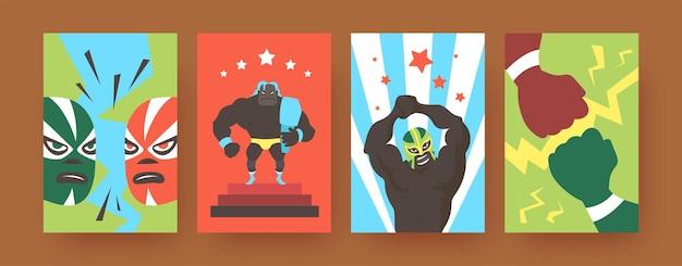 Набор плакатов современного искусства с мексиканскими борцами. иллюстрация.