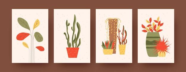 식물과 꽃이 있는 현대 미술 포스터 세트. 벡터 일러스트 레이 션. 다른 조합의 꽃 냄비에 식물 컬렉션
