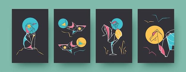 Набор плакатов современного искусства с акулами и пингвином. бумажные животные, петух, дракон пастельные векторные иллюстрации