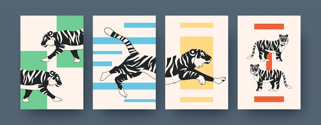 虎と現代アートのポスターのセットです。ベクトルイラスト。フラットなデザインで走る、座っている、横たわっているトラのコレクション