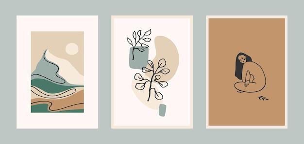 현대 미술 인쇄 세트. 라인 아트.