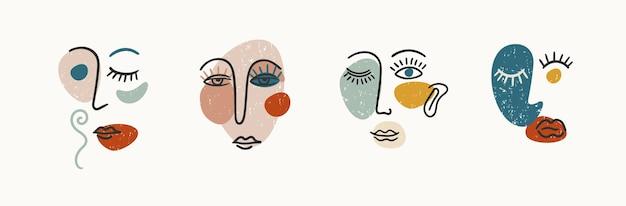 現代の肖像画のセット。線画。ロゴ、ブランディング、tシャツ、ポスター、カード、パッケージなどのモダンなベクターデザイン