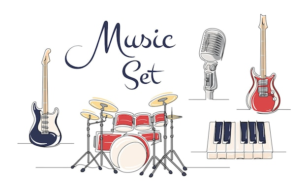 Набор непрерывного рисования одной линии музыкальных инструментов