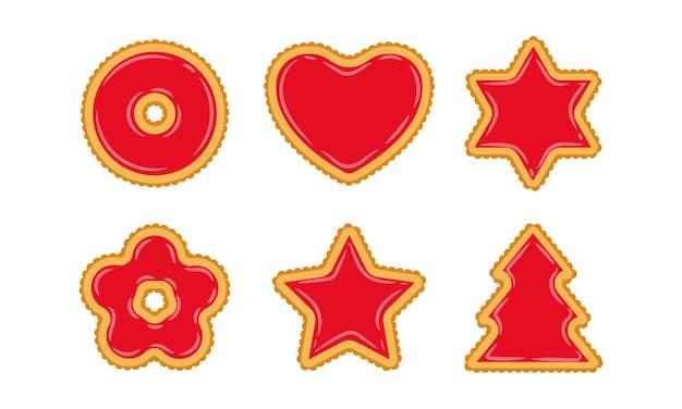Набор печенья разной формы с начинкой из красного желе