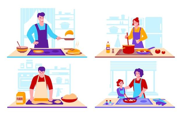 Набор концепций приготовления в домашних условиях. на фоне кухонного интерьера.