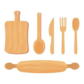 Набор для приготовления деревянных кухонных инструментов, ложка, нож, вилка, скалка, изолированные на белом