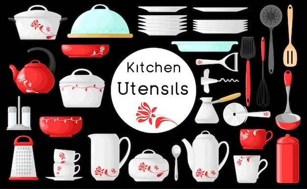 Набор посуды, изолированные на черном фоне. иллюстрация. кухонные принадлежности.