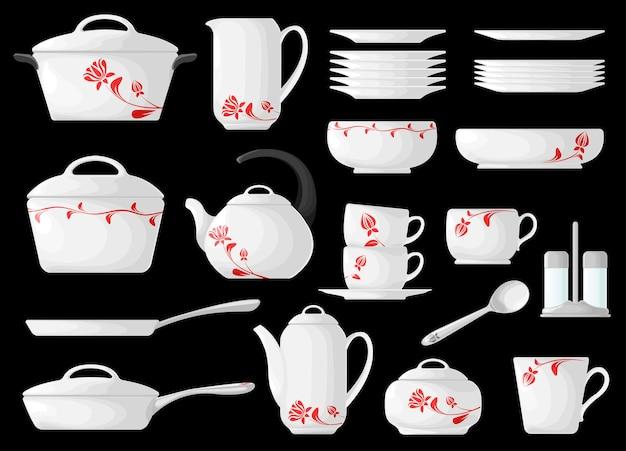 Набор посуды, изолированные на черном фоне.