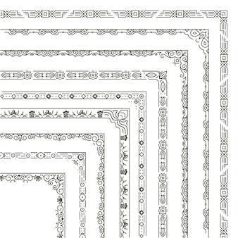 Набор угловых границ иллюстрации. рамка-орнамент в монохромном стиле