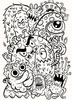コロナウイルスアイコンのセットです。手描きのラインアート漫画のベクトル図です。