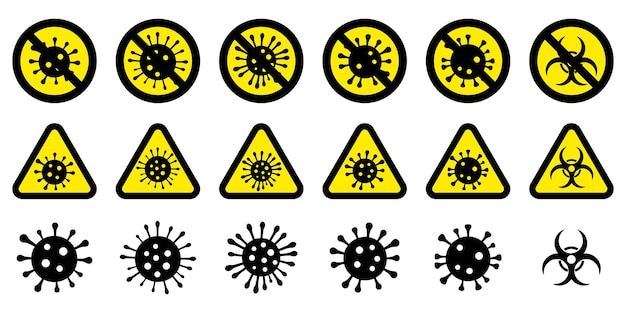 코로나 바이러스 경고 표시 세트