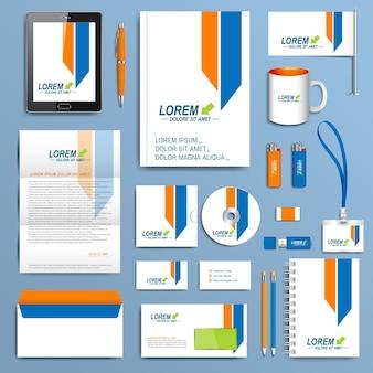 コーポレートアイデンティティテンプレートのセット。モダンなビジネスステーショナリーデザイン。