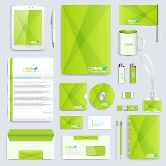 コーポレートアイデンティティテンプレートのセット。現代のビジネスステーショナリーのモックアップ。緑のかまちのブランディングデザイン。