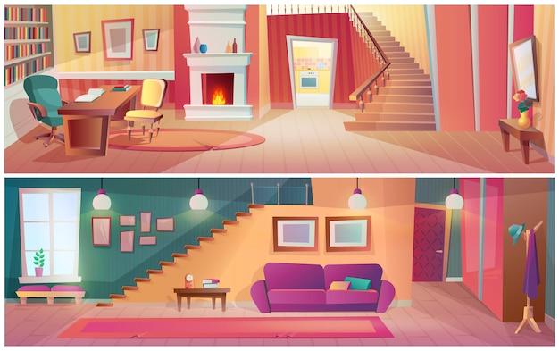Cosiness 거실 및 캐비닛 작업장 인테리어 세트입니다. 가구, 계단, 벽난로 및 소파가 있는 편안한 아파트 바닥 디자인. 직장과 편안한 만화 벡터를 위한 아늑한 국내 장소