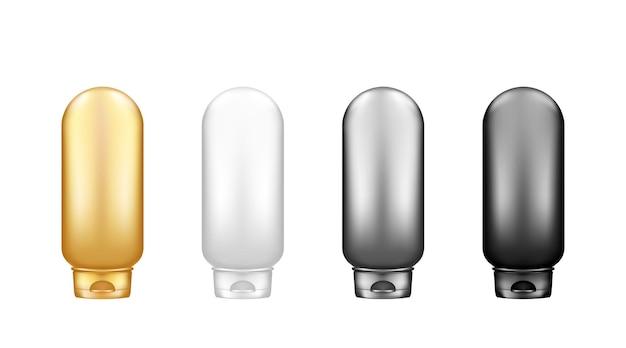 背景から分離された化粧品ボトルモックアップのセット