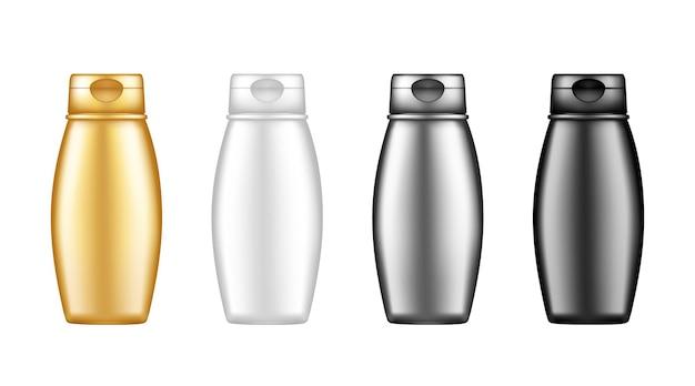 シャワージェル、シャンプー、ローション、クリームの背景から分離された化粧品ボトルモックアップのセット