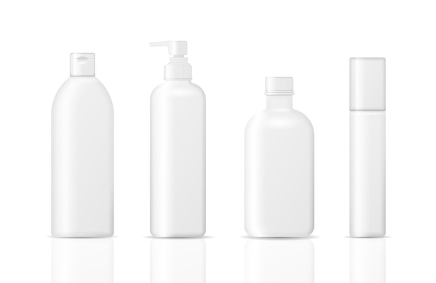 흰색 배경에 고립 된 화장품 병의 집합입니다. 크림, 수프, 폼, 샴푸 용 패키지 컬렉션. 화장품 포장의 현실적인 3d 모형.