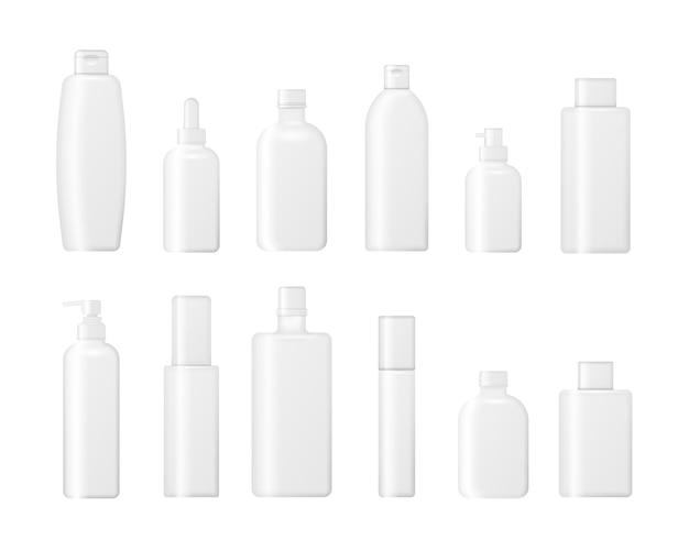 白い背景で隔離の化粧品ボトルのセット。クリーム、スープ、泡、シャンプーのパッケージコレクション。化粧品包装のリアルな3 d。