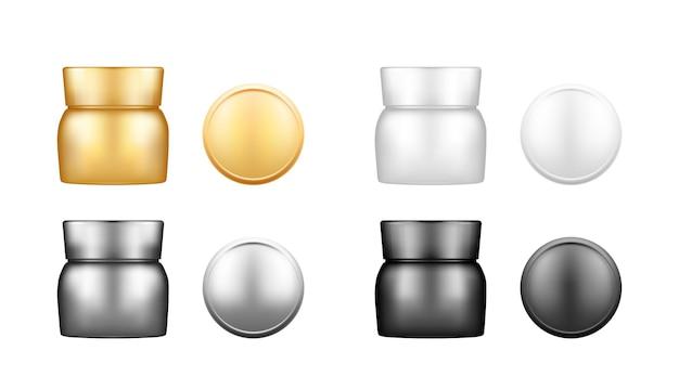 ローション、クリーム、パウダーの背景から分離されたトップキャップビューモックアップと化粧品瓶のセット