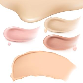 化粧品リキッドファンデーションまたはキャラメルクリームのスミアスミアストロークのセット。