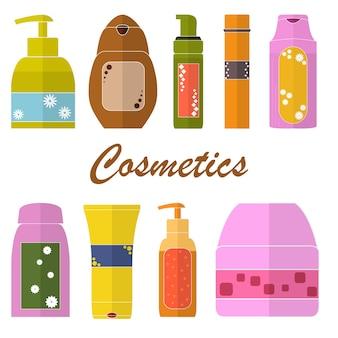 Набор косметических трубок. плоские значки. упаковка геля для душа, шампуня, мыла, крема. косметические флаконы. дизайн для магазина косметики или спа. яркие цвета. векторная иллюстрация.