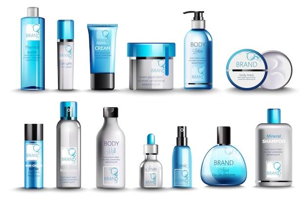 温泉水、美容液、クリーム、ローション、ボディマスク、ボディスプレー、牛乳、強壮剤、香水、ミネラルシャンプーの化粧品のセット。現実的。製品の配置。青色