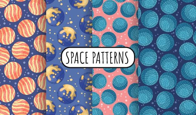 惑星と宇宙のシームレスな空間パターンの背景のセットです。太陽系の惑星の子供たちの壁紙テクスチャタイルのコレクション。