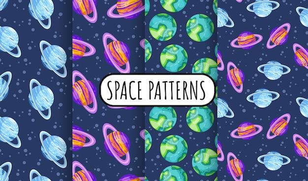 リングと惑星と宇宙のシームレスな空間パターンの背景のセット。太陽系の惑星の子供たちの壁紙テクスチャタイルのコレクション。