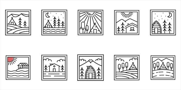 コテージキャビンロゴミニマリストラインアートバッジロゴテンプレートベクトルイラストデザインのセット