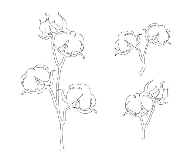 1つの連続線画の綿の花のセット。モダン