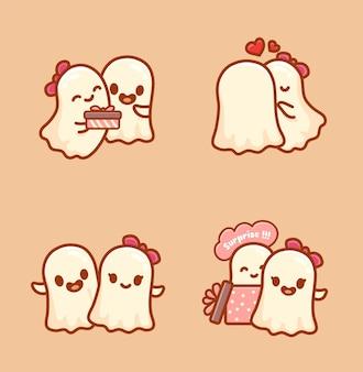 ハロウィーンイベントを祝うカップルの幽霊のセット。カワイイ漫画ベクトル