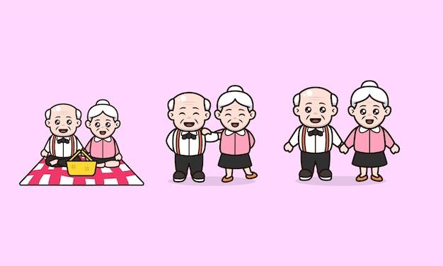 老人のキャラクターデザインのカップル祖父母国際デーのセット