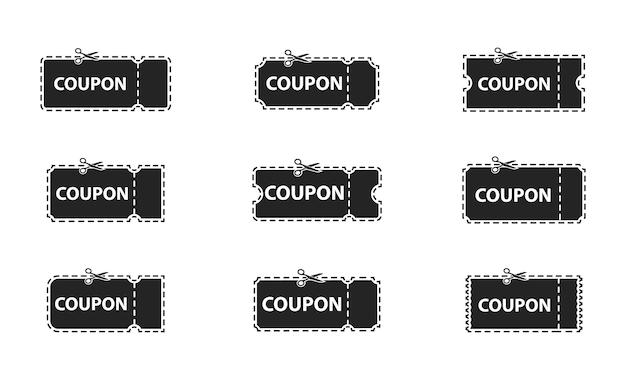 クーポン、チケットのセット。クーポン、割引、セール、バナー、ラベルセット。一枚の紙から切り取った空白のクーポン。コレクションテンプレートチケットとクーポン