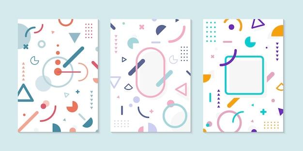 Набор обложки брошюры минимальный дизайн геометрический узор яркого цвета на белом фоне. vcetor иллюстрация