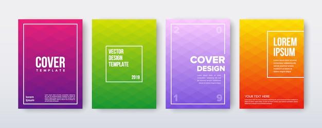 Набор дизайн обложки с градиентом минимального геометрического шаблона