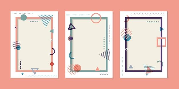 カバーテンプレートのシンプルな幾何学的なメンフィススタイルのセット。