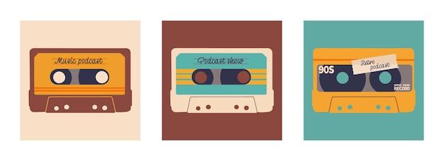 팟캐스트용 커버 세트는 레트로 스타일과 색상을 보여줍니다. 텍스트를 넣을 수 있는 오디오 카세트