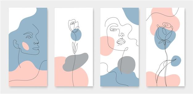 Набор обложек для историй в соцсетях, открыток, флаеров, плакатов, мобильных приложений, баннеров. линейный стиль, женское лицо, цветы непрерывной линии иллюстрации