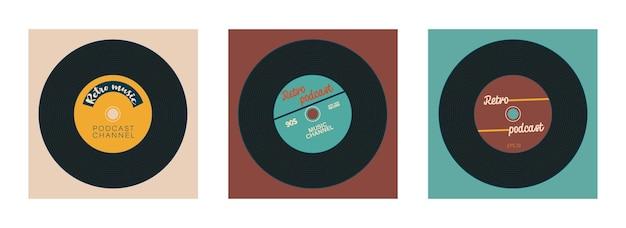 ヴィンテージポッドキャストチャンネルのカバーのセットテキスト用の場所のあるビニールレコード